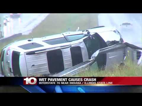 Wet pavement leads to I-70 crash