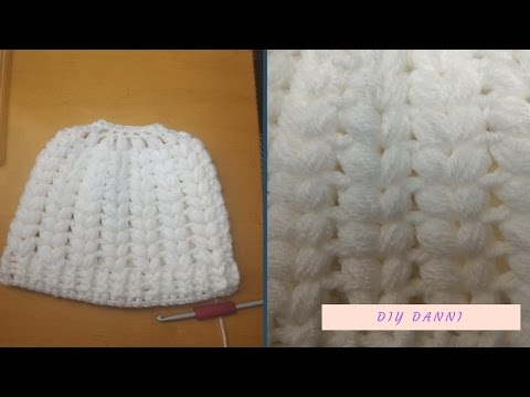 Crochet Puff Stitch Messy Bun Beanie