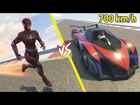 Carro mais rápido do mundo 700km\h vs O flash Quem vence? GTA 5
