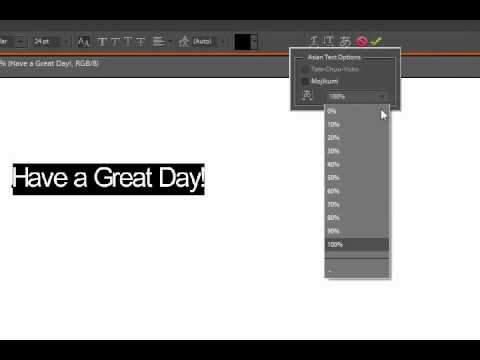 Kerning/Asian Text and Word in Photoshop Elements