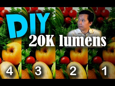 Cheap DIY 20,000 lumens projector brightness testing, comparsion