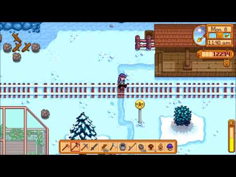 Standing in front of Stardew Valley's train