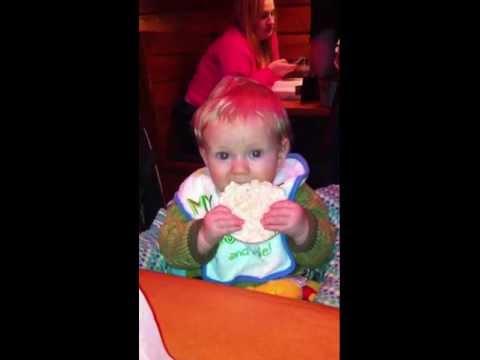 Eli eating rice cake