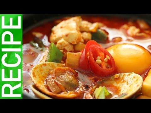 The ultimate comfort food ㅣ  Haemul Sundubu  Jjigae (seafood silken tofu stew:해물순두부찌개만들기)