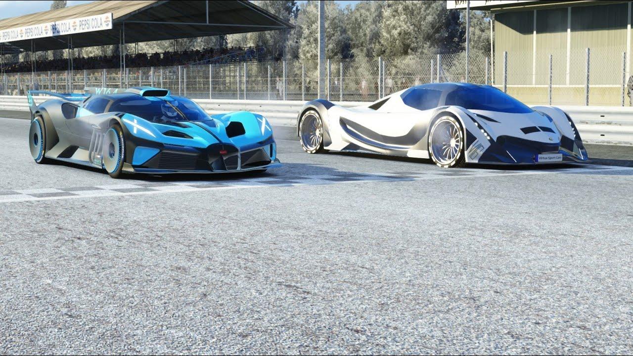 Bugatti Bolide vs Devel Sixteen at Monza Full Course