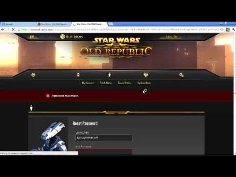 Tutorial: How to Reset password and security lockout for SWTOR