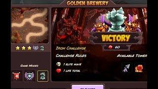 Kingdom Rush Vengeance - Impossible Iron Challenge - Golden Brewery