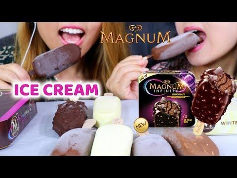 MAGNUM ICE CREAM BARS | ASMR EATING (INTENSE CRUNCH) *MUKBANG*
