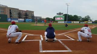 Dabo Swinney, Brad Brownell, Monte Lee with first pitch at Greenville Drive game