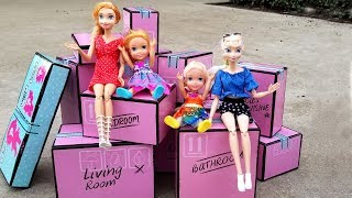 Download Playhouse surprise ! Elsa and Anna toddlers - moving truck - unpacking - LOL Video
