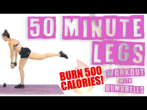 50 Minute Legs Workout with Dumbbells 🔥Burn 500 Calories 🔥