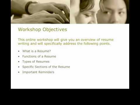 Resume Tutorial Overview