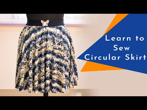 Class 55 - Short Circular skirt in Knit/stretchy fabric & exposed elastic
