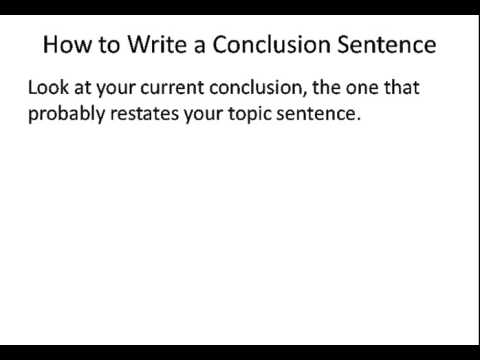 How to Write a Conclusion Sentence