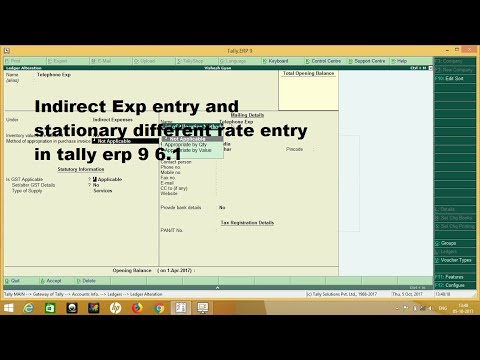 Tally ERP 9 Telephone Bill, Courier charges, Stationery Expenses Entry with different gst rate