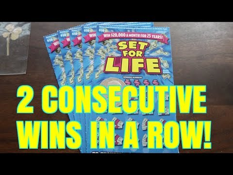 2 CONSECUTIVE WINS!!! GETTING LUCKY! Set For Life $10 California Lottery Scratchers