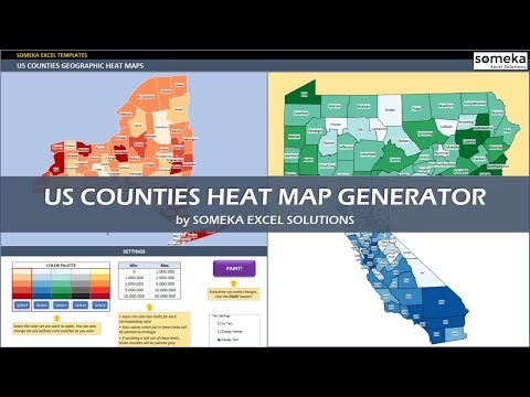 US Counties Heat Map Generators - Automatic Coloring - Editable Shapes