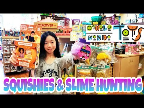 SQUISHIES AND SLIME HUNTING VLOG!!! NEW JUMBO SQUISHY SQUAD AND TONS OF SLIME @ Picollo Mondo Toys