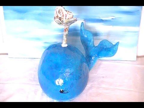 DIY Big Blue Paper Mache Whale with a Blow Hole