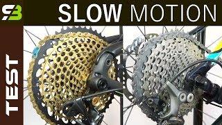 Shimano XTR / XT vs Sram XX1 Eagle - Shifting Performance In Slow Motion.