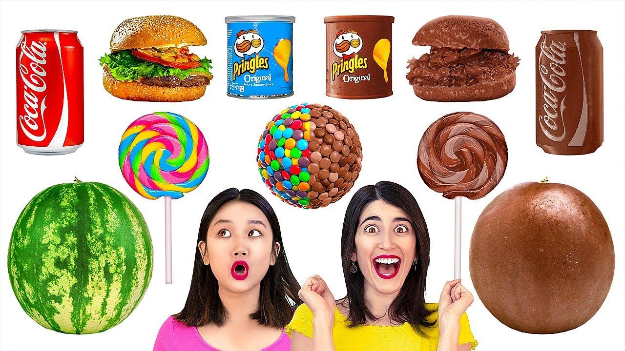 Download MAKANAN DARI COKELAT VS ASLI VS REAL || Tantangan Makanan Yang Menggiurkan oleh 123 GO! GOLD MP3 Gratis