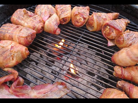 Bacon-wrapped BBQ chicken legs and thighs