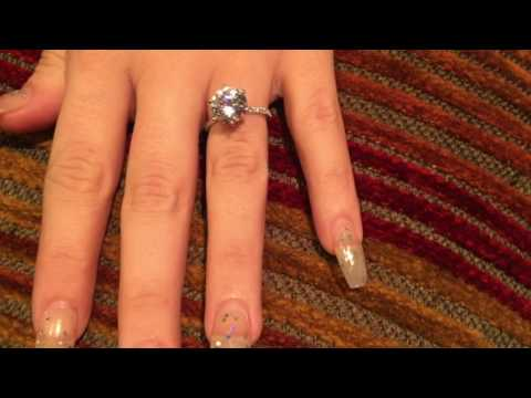 3 Carat Brilliant Cut Highest Quality CZ Engagement Ring with Skinny Band.