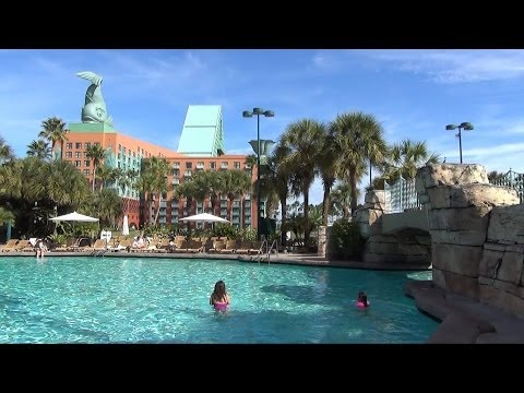 Walt Disney World Swan & Dolphin Pools, Beach - Grotto Pool, Water Slide POV, Jacuzzis, Swan Boats