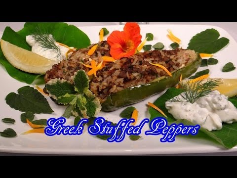 Greek Stuffed Peppers Recipe -  Fresh from the Garden with Anise Hyssop, Mint, Parsley, and More!