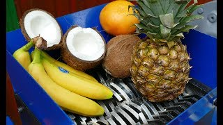 SHREDDING A COCONUT AND OTHER FRUITS (BANANA, PINEAPPLE, ORANGE)