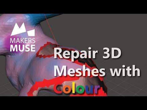 Repair holes in COLOURED 3D mesh files with Meshmixer! Tutorial - 2015