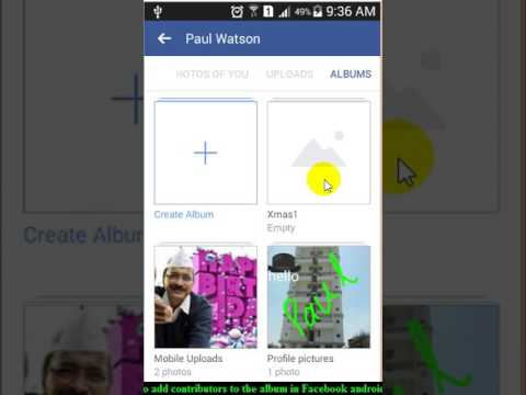 How to add contributors to the album in Facebook android app