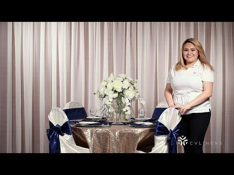 Simple DIY Wedding Table Set Up - Navy and Champagne