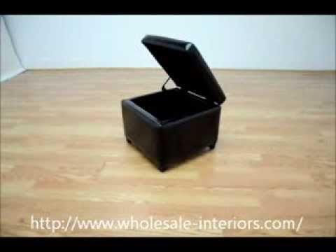 Wholesale Interiors Black Full Leather Small Storage Cube Ottoman
