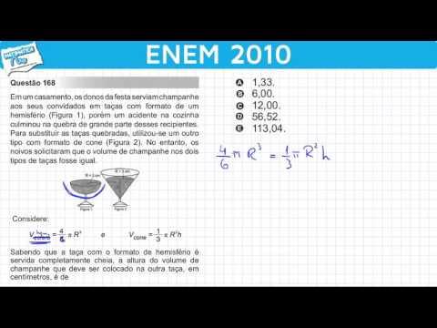ENEM 2010 Matemática #33 - Volume da Esfera e Volume do Cone