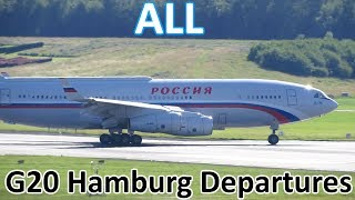 G20 Hamburg | ALL Government/Presidential Aircraft Departures - Planespotting at Hamburg (2017)