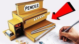 DIY How to make a Pencil Eraser and Sharpener Dispenser Machine from Cardboard for SCHOOL Supplies
