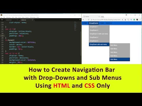 Creating Dropdown menu with sub menu using HTML CSS in hindi