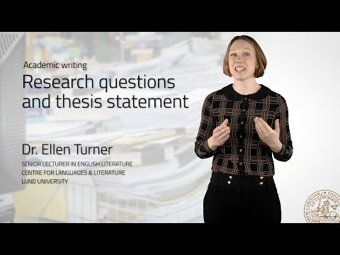 Research questions and thesis statement