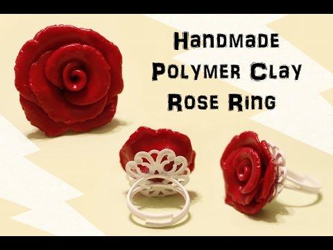 Handmade Polymer Clay Rose Ring (No Mold)