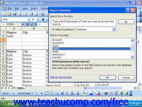 Excel 2003 Tutorial Using Database Funtions Microsoft Training Lesson 28.5