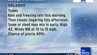 Weather Channel Local on the 8s (1/9/2010) - Florida Ice/Snow