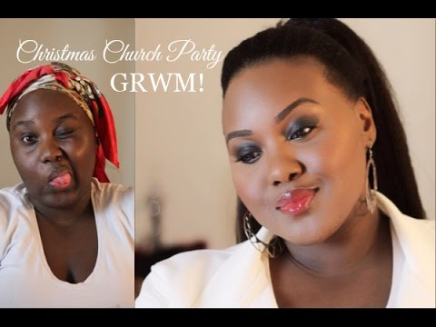 Christmas Church Party GRWM | Makeup and Ponytail with Kinky Clip-In Extensions