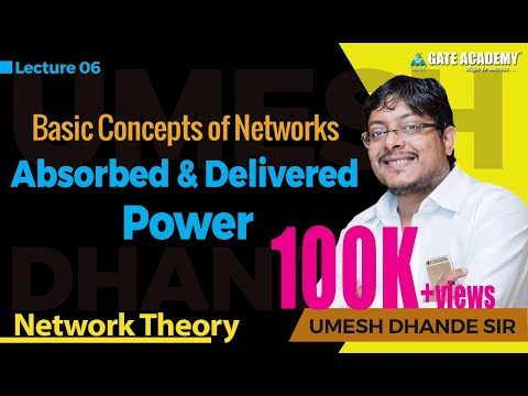 GATE Lecture on Network Theory- Absorbed and Delivered Power  (Hindi Language )