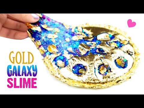 THE MOST SATISFYING SLIME HACK!! How To Make DIY Gold Leaf Galaxy Slime!