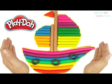 DIY How to Make Play Doh Rainbow Boat - Art and Craft for Kids
