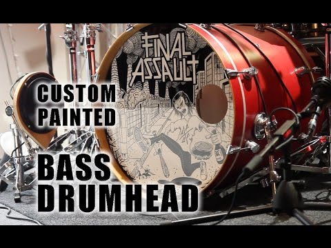 Aquarian bass drumhead painted with 1Shot enamels