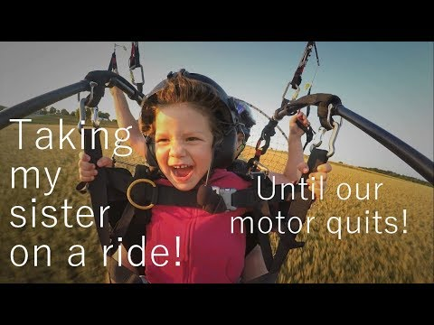 Our motor quits! Taking my sister for a tandem Paramotor ride