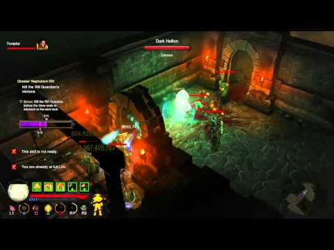 Diablo III: Reaper Of Souls PS4, Crusader Gameplay, Rolands Build Clearing GR52