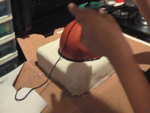 Assembling a Basketball Cake